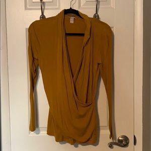 Banana Republic Modal Wrap Shirt Yellow M